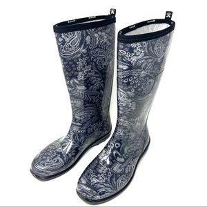 Kamik Cynthia Black & Gray Paisley Rain Boots